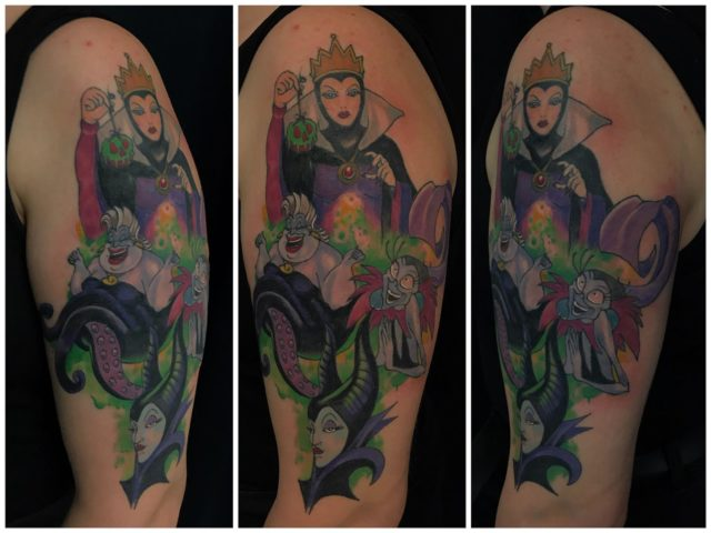 Osa parantunutta, osa juuri väritettyä. Jatketaan taas loppuvuoden puolella projektia 🙂  #inprogress #parthealed #partfresh #colortattoo #inked #disney #villains #maleficent #evilqueen #ursula #yzma #ink #tattoo #tatuointi