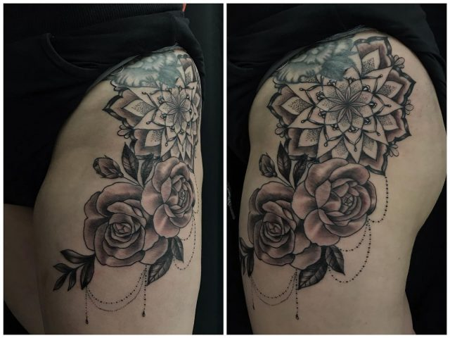 Reiden sivussa. Osa parantunutta, osa tänään väritettyä. #blackandgrey #mandalatattoo #flowers #hiptattoo #parthealed #ink #girlytattoo #inked #tattoo #tatuointi #hyvinkää #tattooparlour #artcollective