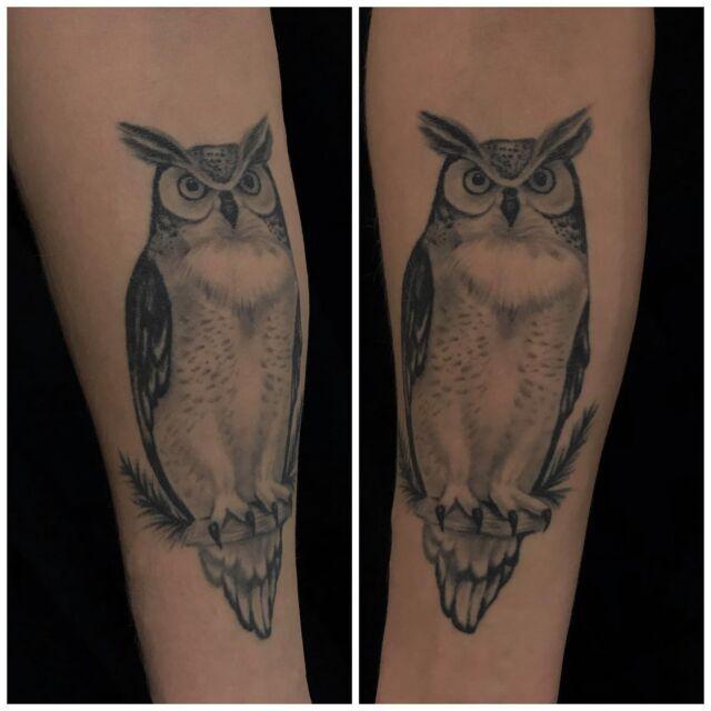 Parantunut! Tehty pari vuotta sitten 😊 #healed #blackandgrey #owltattoo #ink #healedtattoo #owl #nature #nordic #wildlife #inked #tattoo #tatuointi #hyvinkää #tattooparlour #artcollective
