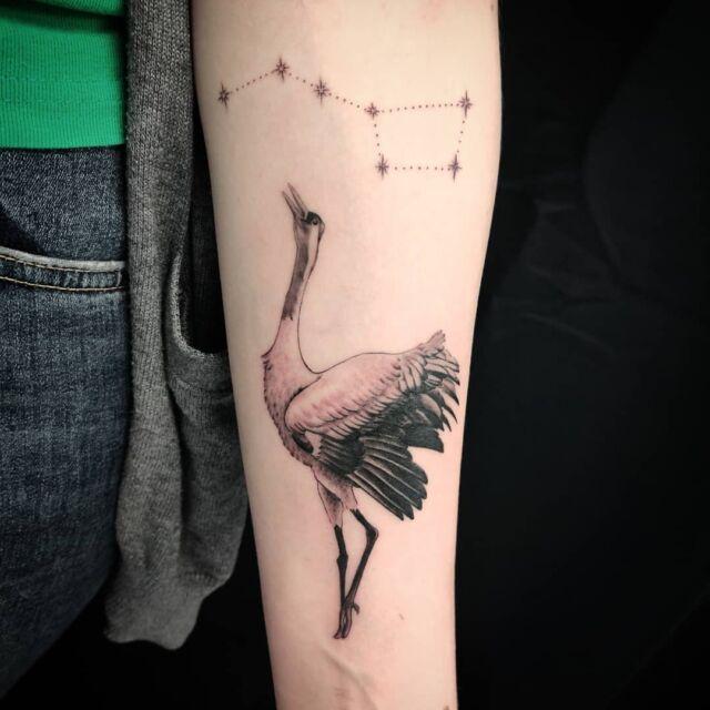 Tanssiva #kurki ja #otava #tatuointi #artelysior #tattooparlour #artcollective #hyvinkää