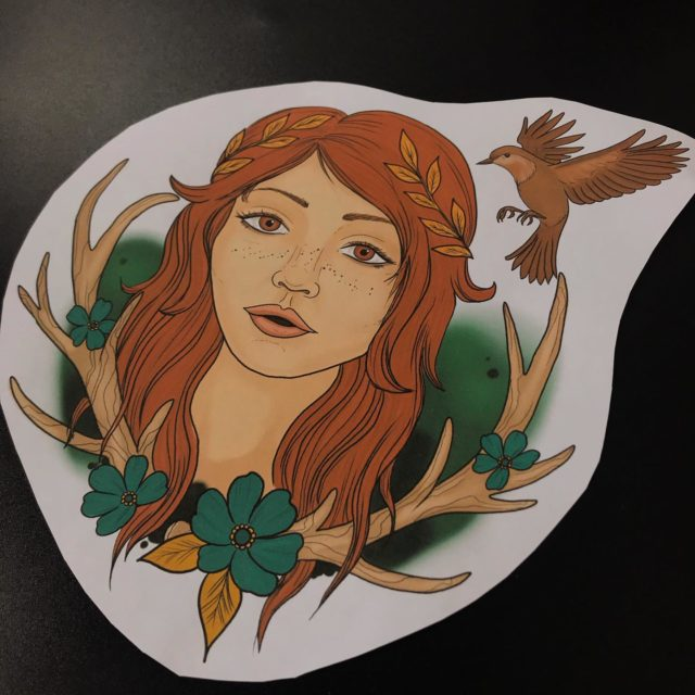 Vapaana vielä! 😉 Koko noin 17x18 cm  #tattooflash #drawing #colortattoo #ink #sketch #tattoodesign #digitalart #tattooart #antlers #bird #bohogirl #ladyface #inked #tattoo #tatuointi #hyvinkää