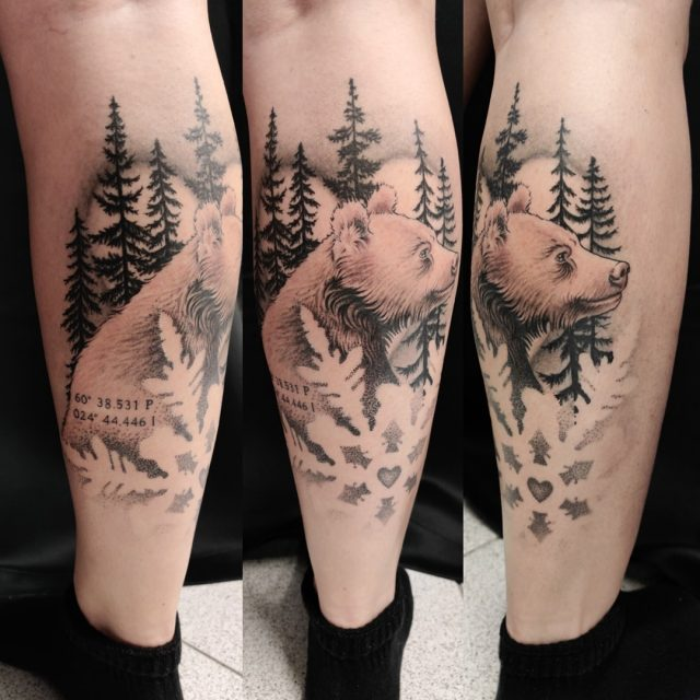 Osa parantunutta, osa tänään väriteltyä!  #tatuointi #artelysior #tattooparlour #artcollective #hyvinkää #karhu #talvi #rakkaus #bear #winter #love #tattoo