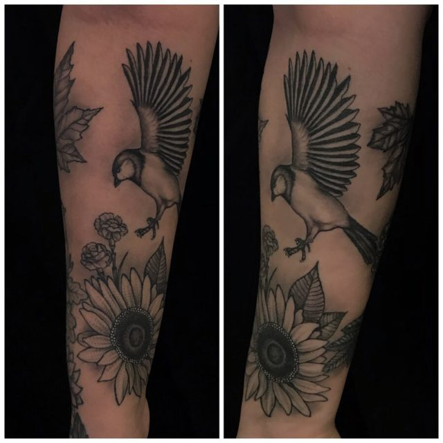 Parantunut! 👉🏽 #healed #blackandgrey #healedtattoo #birdtattoo #sunflower #rowanberries #botanical #ink #mapleleafs #inked #tattoo #tatuointi #hyvinkää #riihimäki
