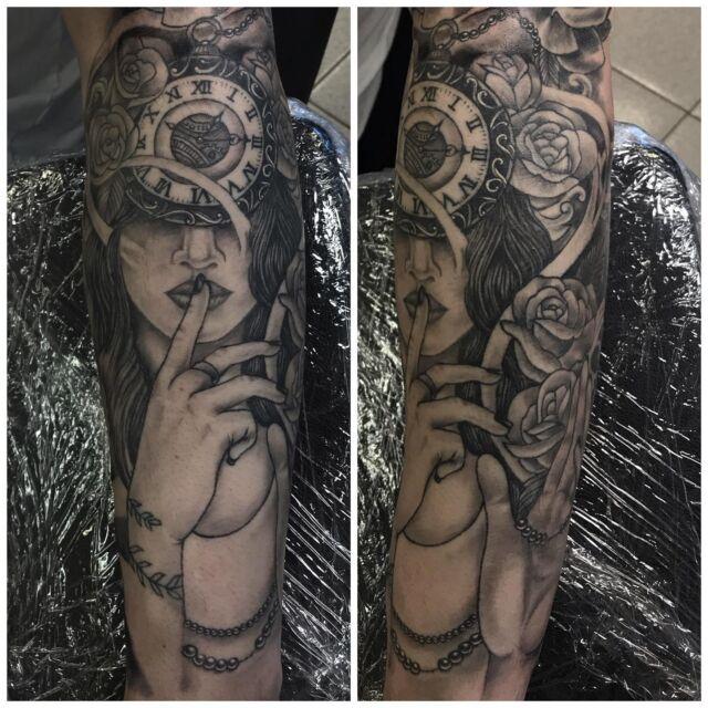Parantunut!  #blackandgrey #healedtattoo #clock #roses #healed #greywash #halfsleeve #ink #tattoo #tatuointi #hyvinkää #tattooparlour #artcollective