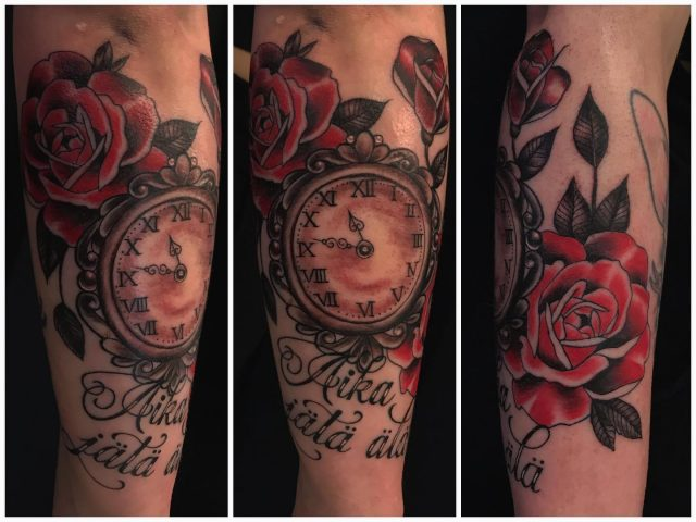 Kyynärvarressa.  #colortattoo #roses #clock #rosetattoo #script #ink #tattoo #inked #tatuointi #hyvinkää #tattooparlour #artcollective